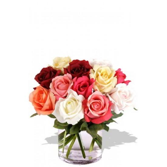 12 Mixed Short Stem Rose Vase Bouquet