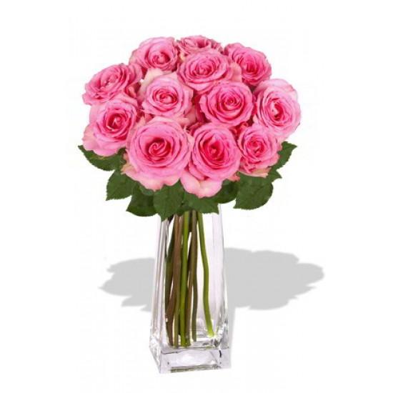 12 Maria Pink Rose Vase Bouquet